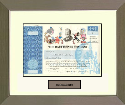 Walt Disney Stock Certificate framed in brushed stainless