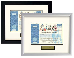Walt Disney Stock Framed in Black or White - $99.00